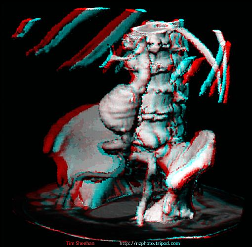 Cross eye version parallel eye version grey anaglyph coloured anaglyph